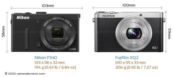 Nikon P340 vs Fujifilm XQ2 Camera Size Comparison - Front View