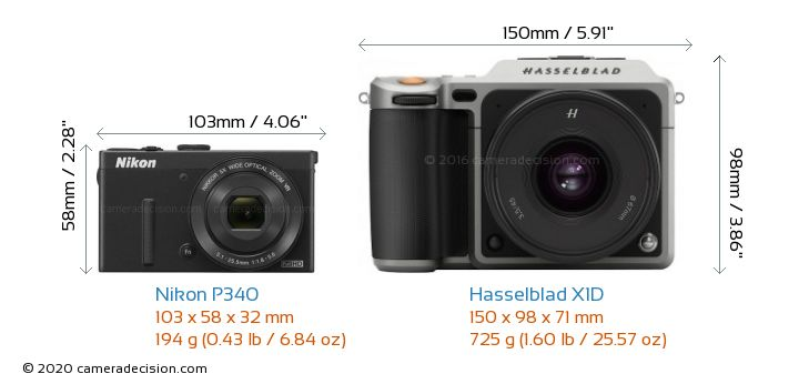 Nikon P340 vs Hasselblad X1D Camera Size Comparison - Front View