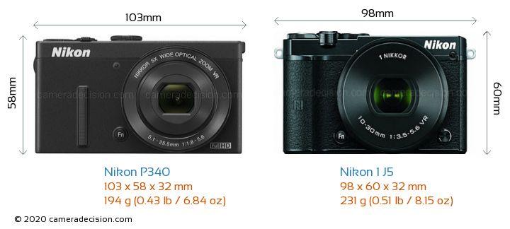 Nikon P340 vs Nikon 1 J5 Camera Size Comparison - Front View