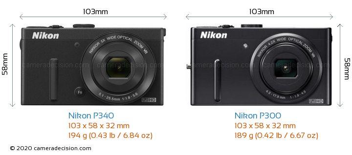 Nikon P340 vs Nikon P300 Camera Size Comparison - Front View