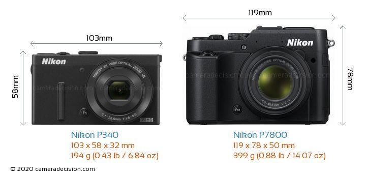 Nikon P340 vs Nikon P7800 Camera Size Comparison - Front View