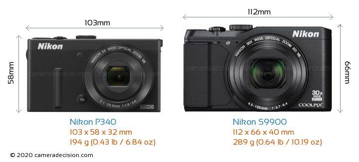 Nikon P340 vs Nikon S9900 Camera Size Comparison - Front View