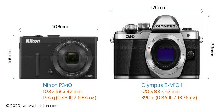 Nikon P340 vs Olympus E-M10 II Camera Size Comparison - Front View