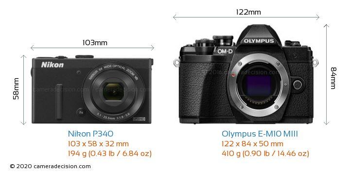 Nikon P340 vs Olympus E-M10 MIII Camera Size Comparison - Front View