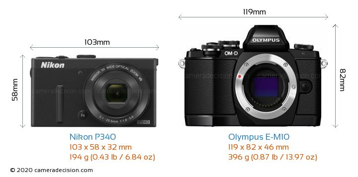 Nikon P340 vs Olympus E-M10 Camera Size Comparison - Front View