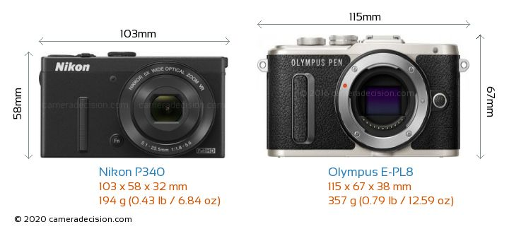 Nikon P340 vs Olympus E-PL8 Camera Size Comparison - Front View