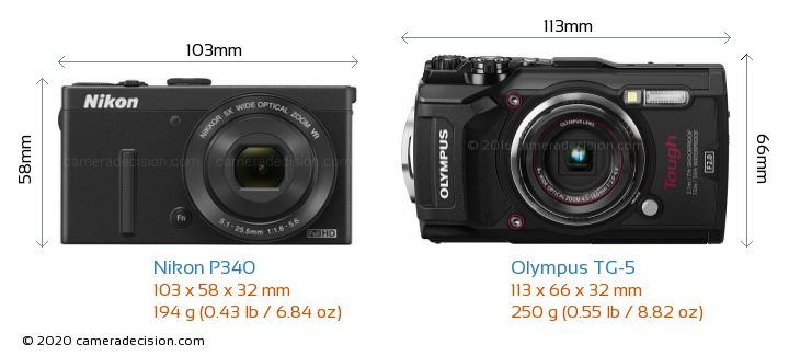 Nikon P340 vs Olympus TG-5 Camera Size Comparison - Front View