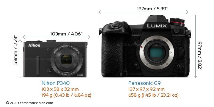 Nikon P340 vs Panasonic G9 Camera Size Comparison - Front View