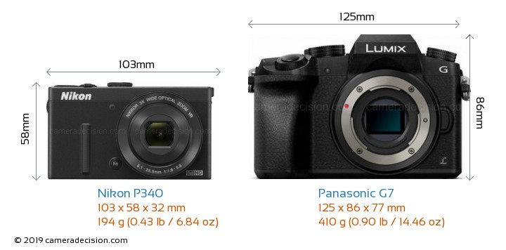 Nikon P340 vs Panasonic G7 Camera Size Comparison - Front View