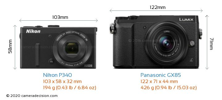Nikon P340 vs Panasonic GX85 Camera Size Comparison - Front View