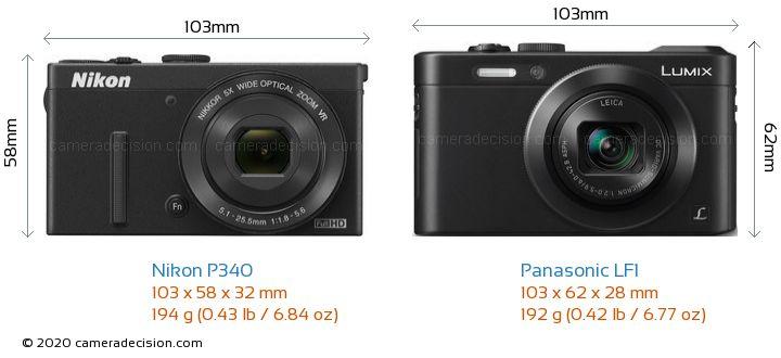 Nikon P340 vs Panasonic LF1 Camera Size Comparison - Front View