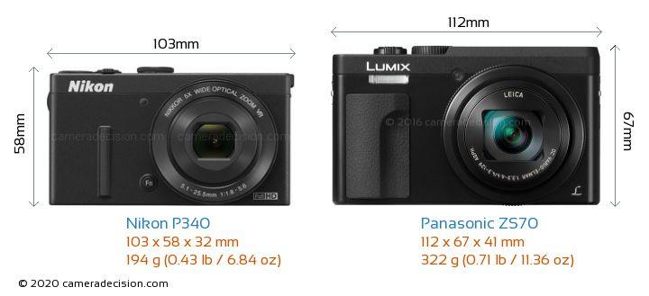 Nikon P340 vs Panasonic ZS70 Camera Size Comparison - Front View