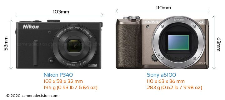 Nikon P340 vs Sony a5100 Camera Size Comparison - Front View