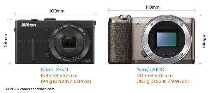 Nikon P340 vs Sony a5100 Camera Size Comparison - Front View