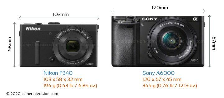 Nikon P340 vs Sony A6000 Camera Size Comparison - Front View