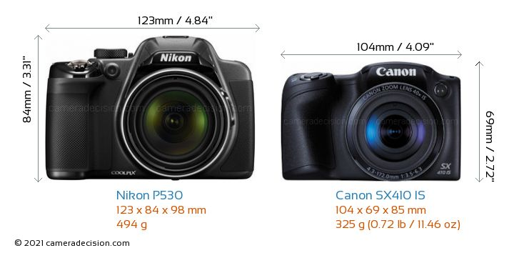 Nikon P530 vs Canon SX410 IS Camera Size Comparison - Front View