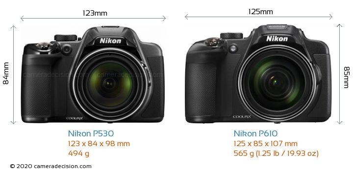 Nikon P530 vs Nikon P610 Camera Size Comparison - Front View