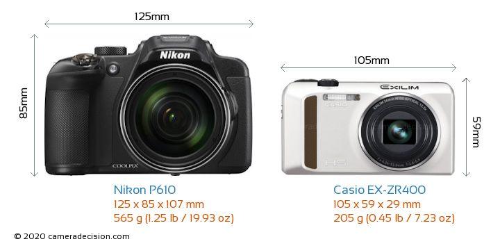 Nikon P610 vs Casio EX-ZR400 Camera Size Comparison - Front View