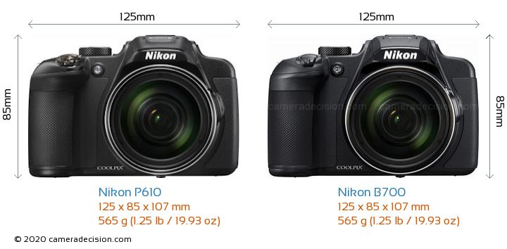 Nikon P610 vs Nikon B700 Camera Size Comparison - Front View