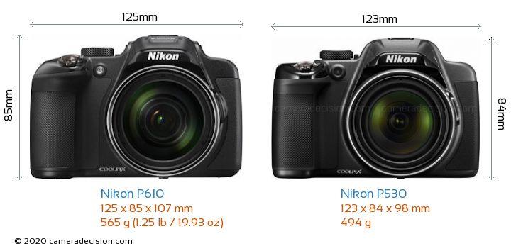 Nikon P610 vs Nikon P530 Camera Size Comparison - Front View