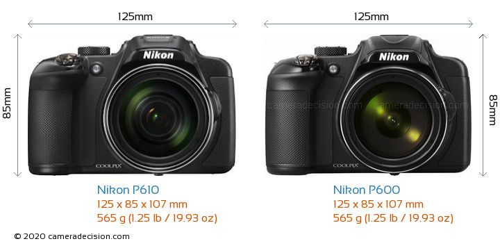 Nikon P610 vs Nikon P600 Camera Size Comparison - Front View
