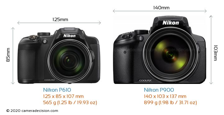 Nikon P610 vs Nikon P900 Camera Size Comparison - Front View