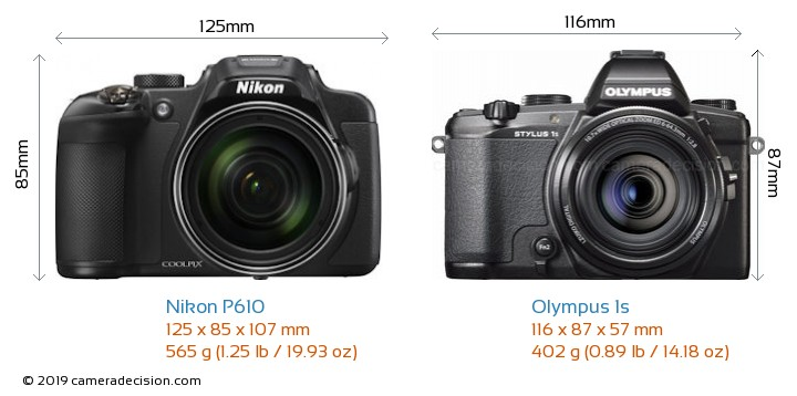 Nikon P610 vs Olympus 1s Camera Size Comparison - Front View