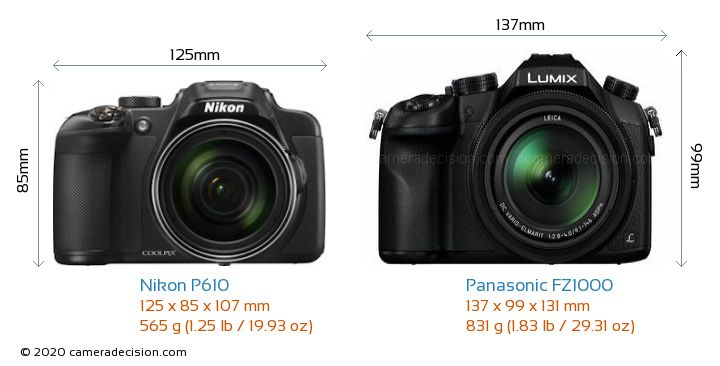 Nikon P610 vs Panasonic FZ1000 Camera Size Comparison - Front View