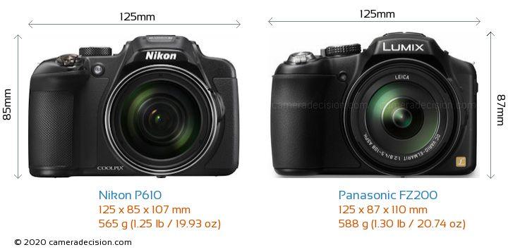 Nikon P610 vs Panasonic FZ200 Camera Size Comparison - Front View