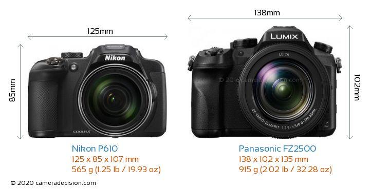 Nikon P610 vs Panasonic FZ2500 Camera Size Comparison - Front View