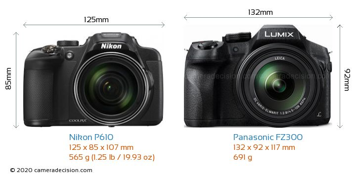 Nikon P610 vs Panasonic FZ300 Camera Size Comparison - Front View