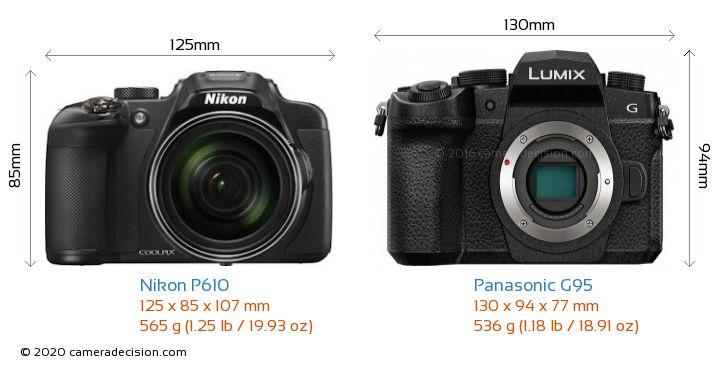 Nikon P610 vs Panasonic G95 Camera Size Comparison - Front View