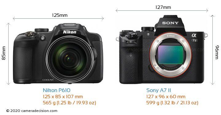 Nikon P610 vs Sony A7 II Camera Size Comparison - Front View