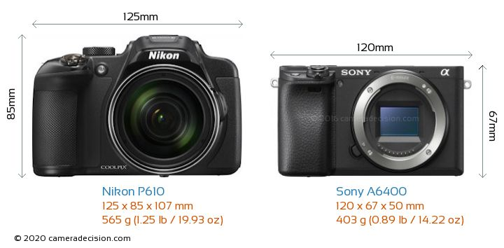 Nikon P610 vs Sony A6400 Camera Size Comparison - Front View