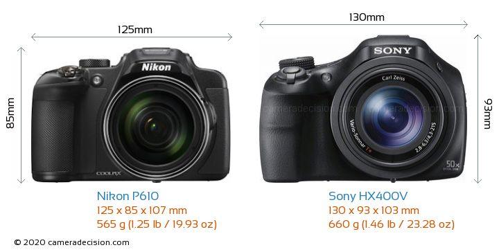 Nikon P610 vs Sony HX400V Camera Size Comparison - Front View
