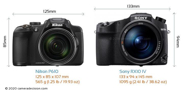 Nikon P610 vs Sony RX10 IV Camera Size Comparison - Front View