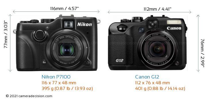 Nikon P7100 vs Canon G12 Camera Size Comparison - Front View
