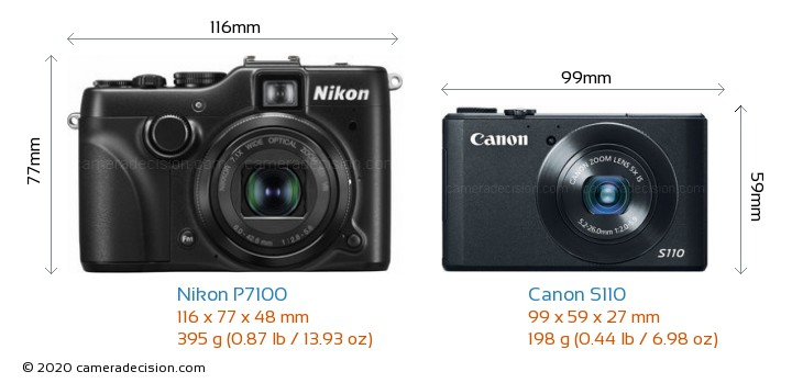 Nikon P7100 vs Canon S110 Camera Size Comparison - Front View