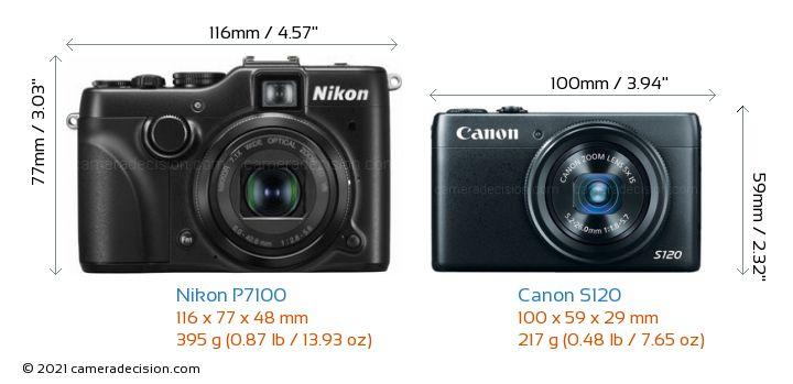 Nikon P7100 vs Canon S120 Camera Size Comparison - Front View
