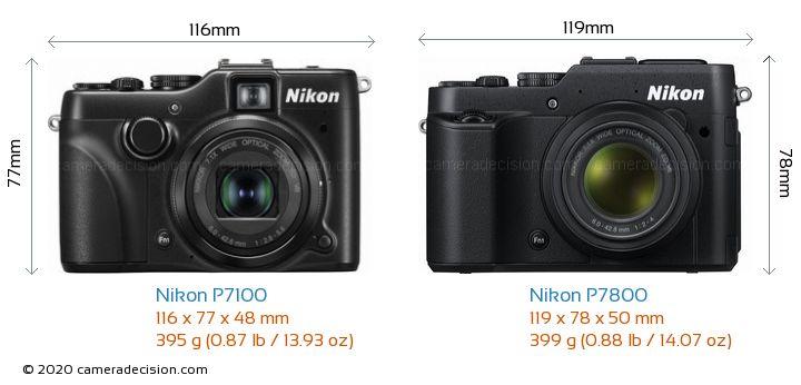 Nikon P7100 vs Nikon P7800 Camera Size Comparison - Front View