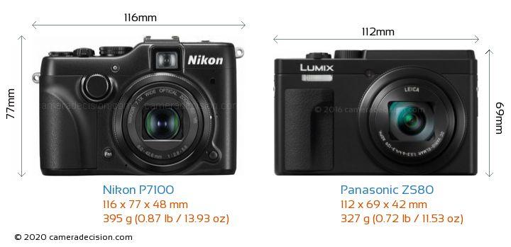 Nikon P7100 vs Panasonic ZS80 Camera Size Comparison - Front View