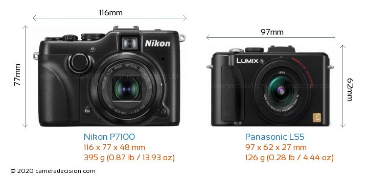 Nikon P7100 vs Panasonic LS5 Camera Size Comparison - Front View