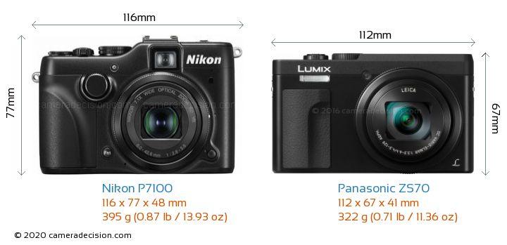 Nikon P7100 vs Panasonic ZS70 Camera Size Comparison - Front View