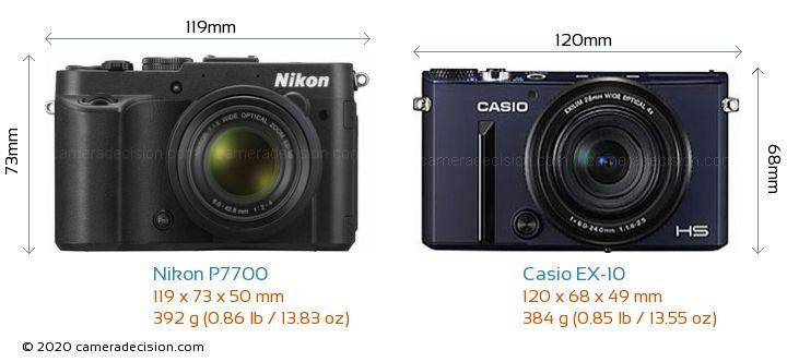 Nikon P7700 vs Casio EX-10 Camera Size Comparison - Front View