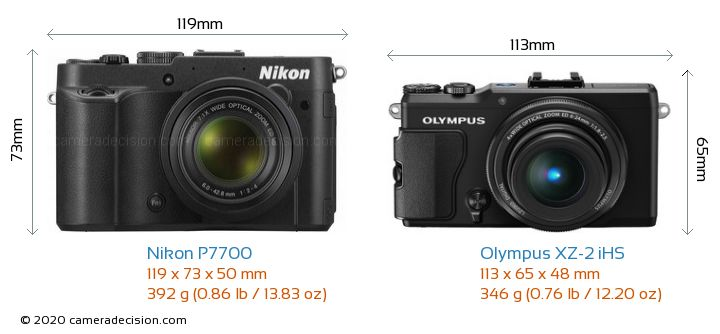 Nikon P7700 vs Olympus XZ-2 iHS Camera Size Comparison - Front View