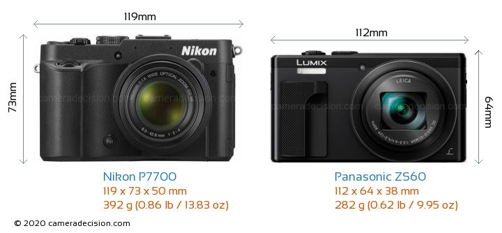 Nikon P7700 vs Panasonic ZS60 Camera Size Comparison - Front View