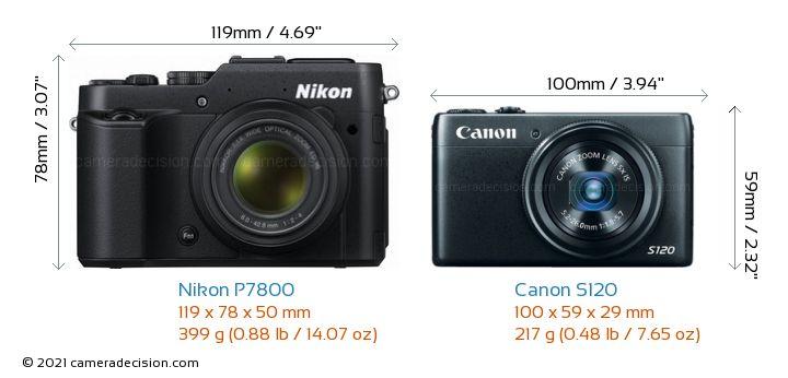 Nikon P7800 vs Canon S120 Camera Size Comparison - Front View