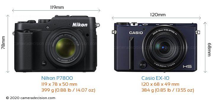 Nikon P7800 vs Casio EX-10 Camera Size Comparison - Front View
