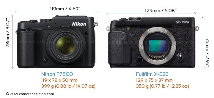 Nikon P7800 vs Fujifilm X-E2S Camera Size Comparison - Front View