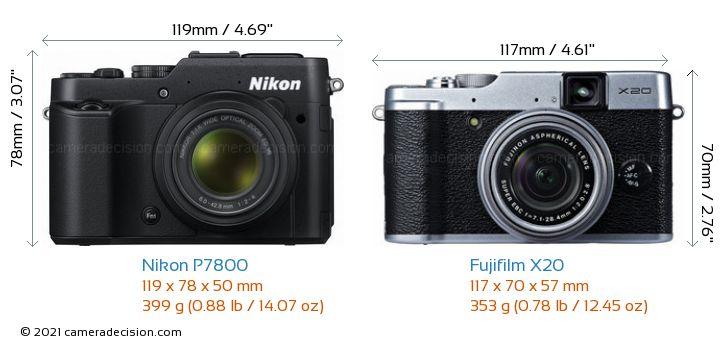 Nikon P7800 vs Fujifilm X20 Camera Size Comparison - Front View